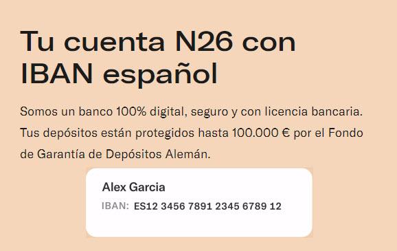 n26 iban español